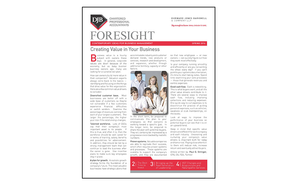 Thumbnail of front of the Foresight newsletter Spring 2016