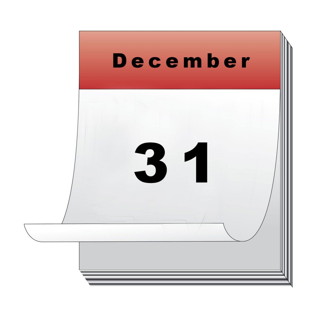 Calendar on Dec 31 day