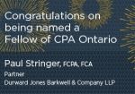 Congratulations to Paul Stringer on being named a Fellow of CPA Ontario