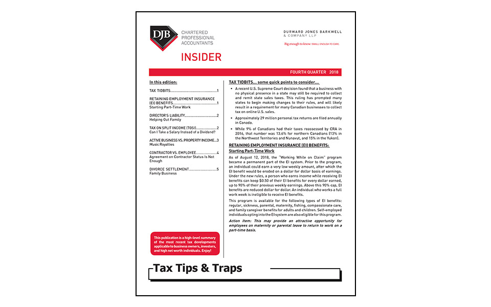 Thumbnail of Q4 2018 edition of Tax Tips and Traps