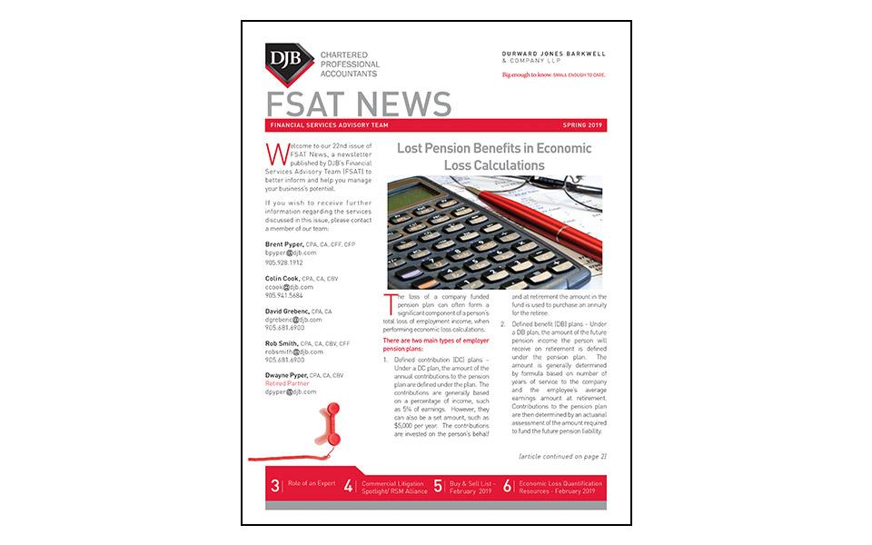 Thumbnail of front of the FSAT newsletter Spring 2019