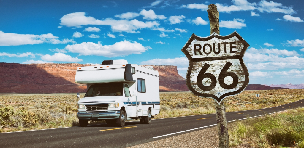 Driving motorhome through National Park USA on Route 66