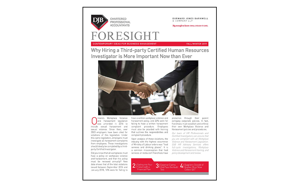 Thumbnail of front of the Foresight newsletter Fall 2019