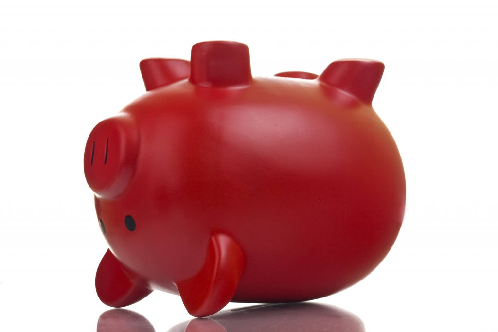 Upside down red piggy bank