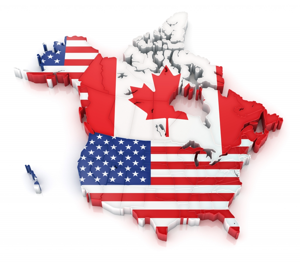Map of Canada and USA