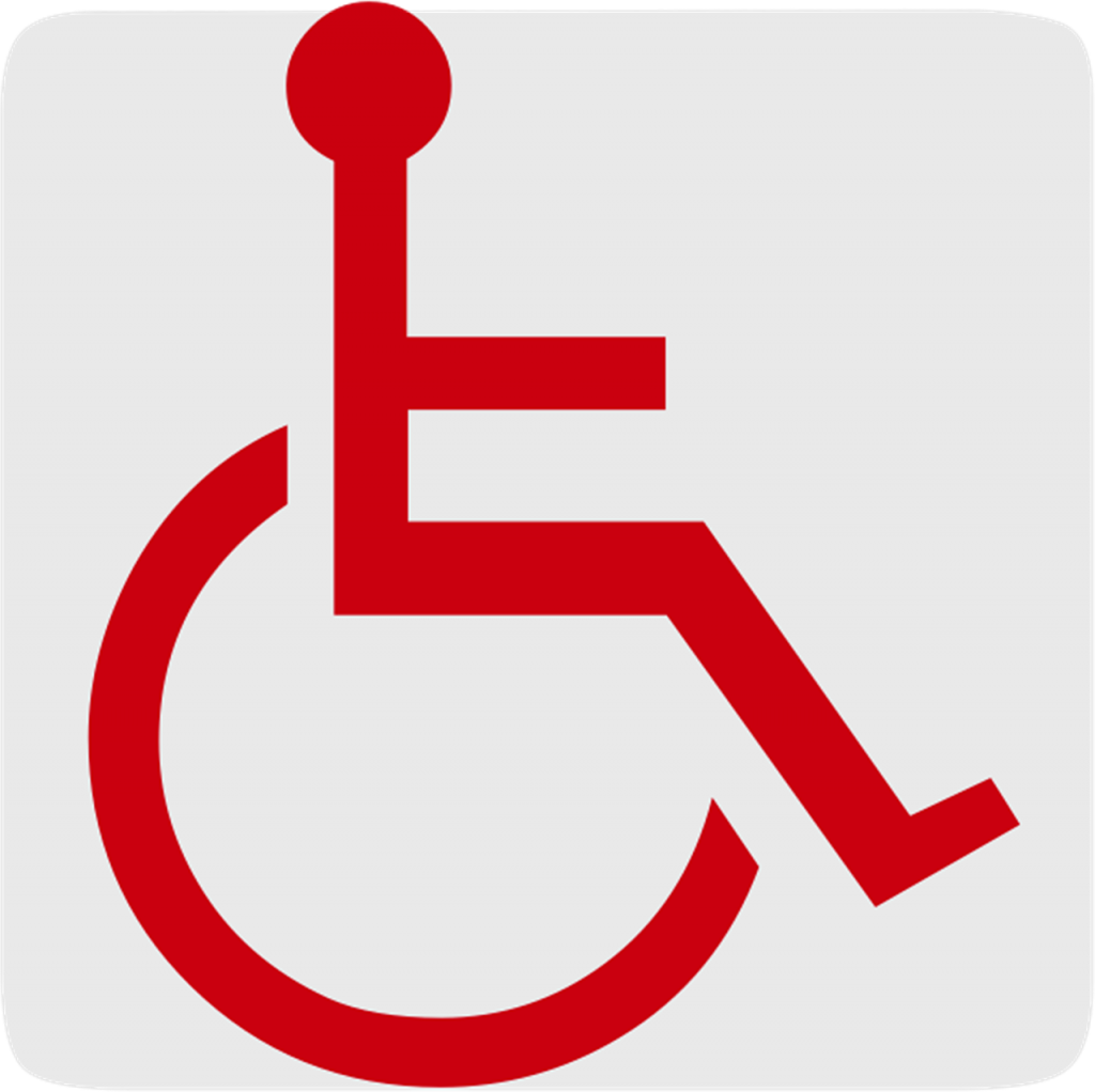 Wheelchair symbol in red