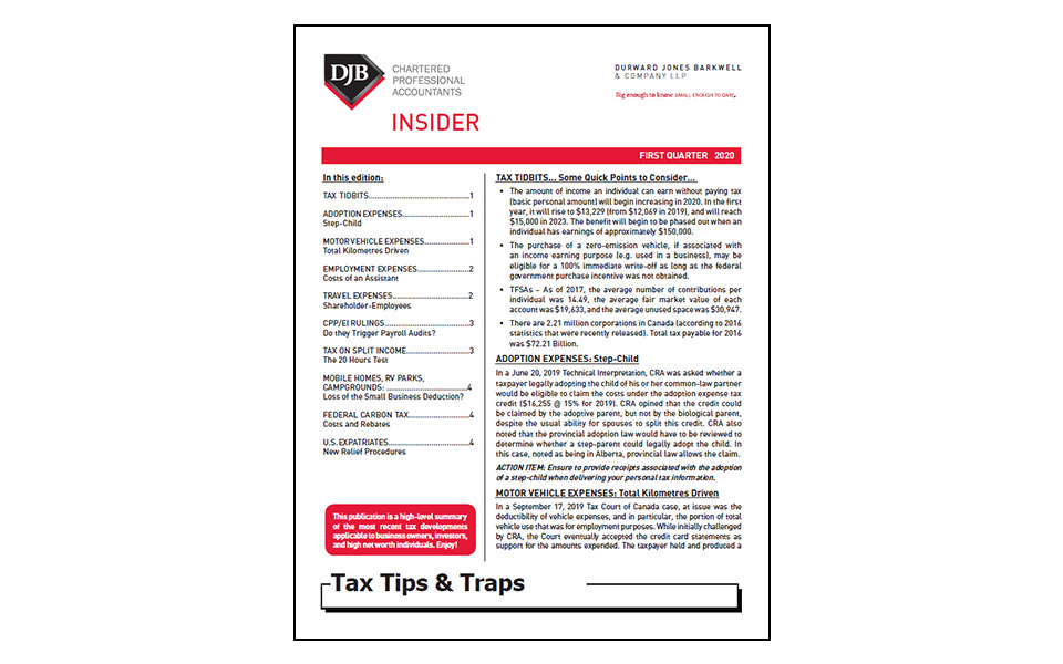 Thumbnail of front of the Tax newsletter Q1 2020