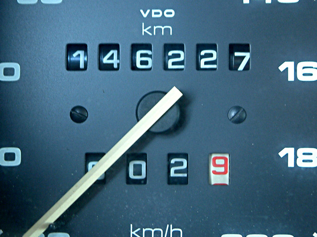 An odometer on a car