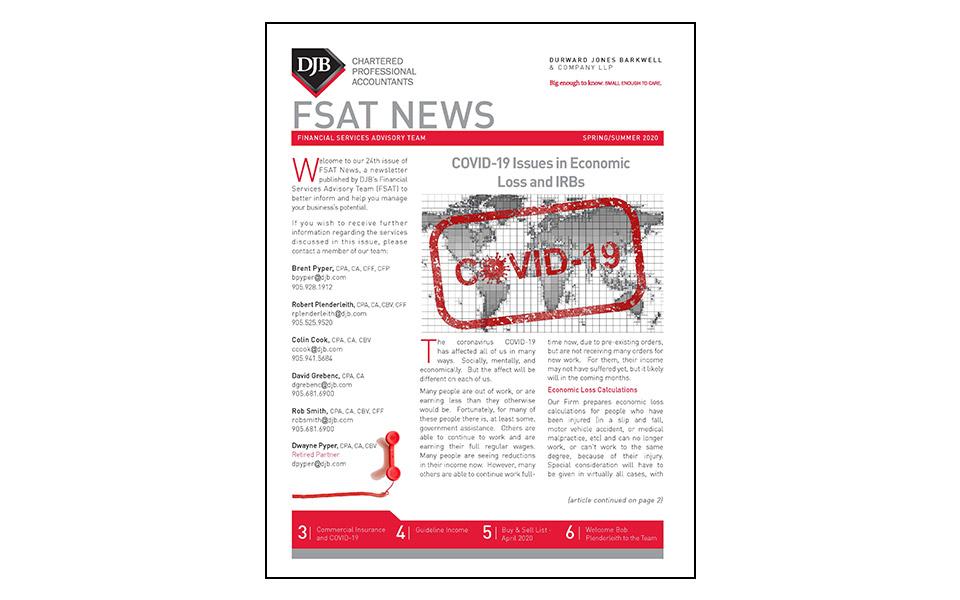Front cover of FSAT Newsletter Spring & Summer 2020