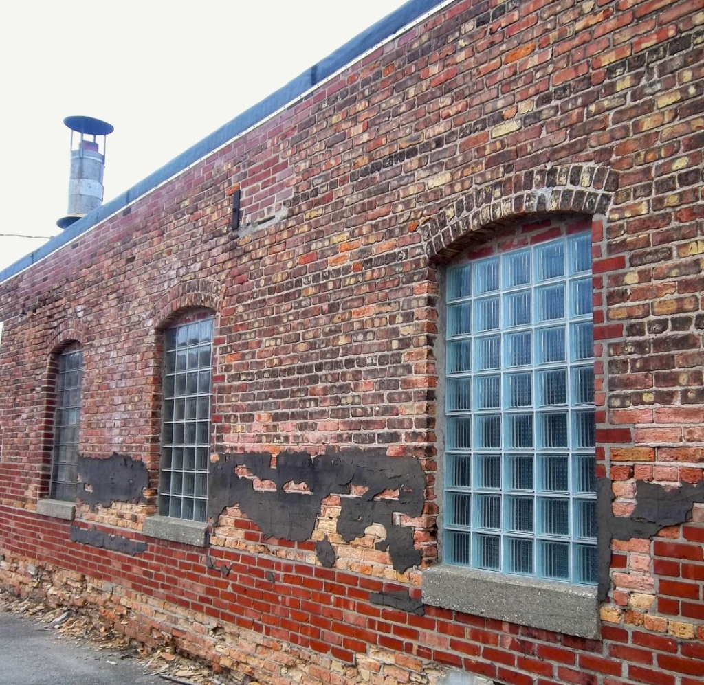 The side view of old brick factory