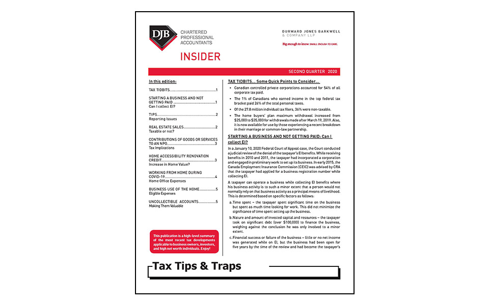 front cover of Tax Tips & Traps newsletter