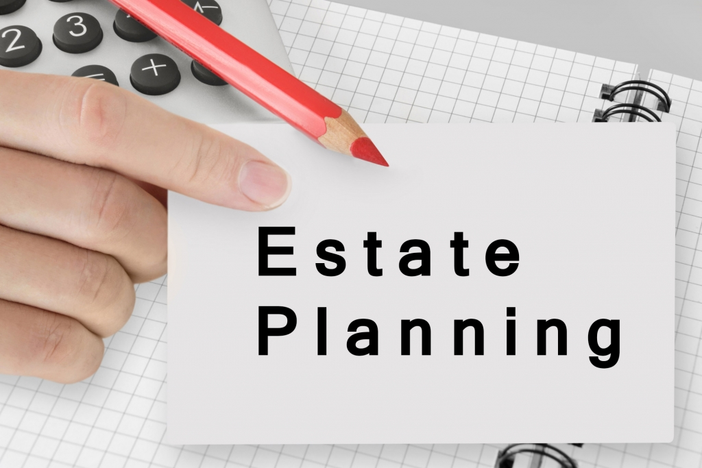 Blank card with the word Estate Planning