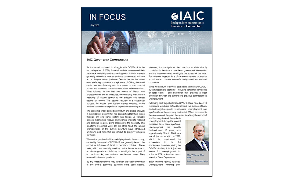 Cover of In Focus Newsletter Q2 produced by IAIC