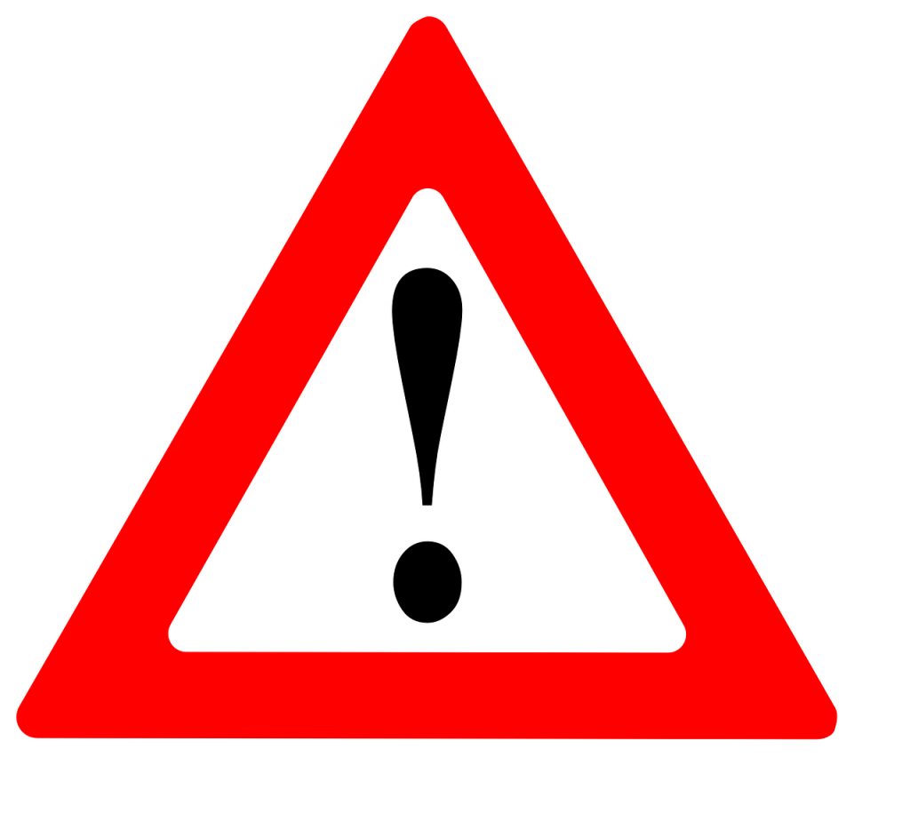 caution or attention sign (yield with exclamation mark)