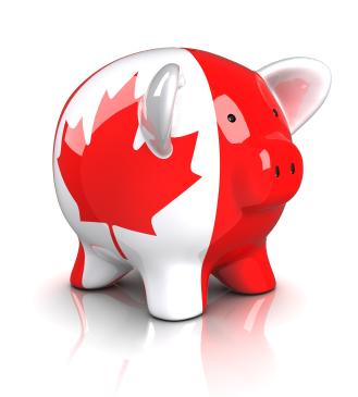 Piggy bank with Canadian flag painted on it