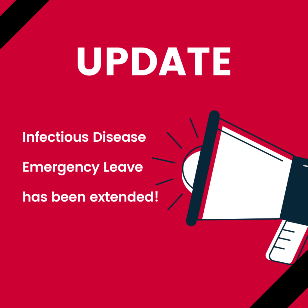 "A blow horn illustration with the words ""update infectious disease emergency leave has been extended"""