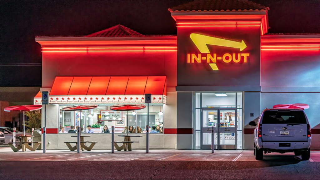 front of In-N-Out Restaurant