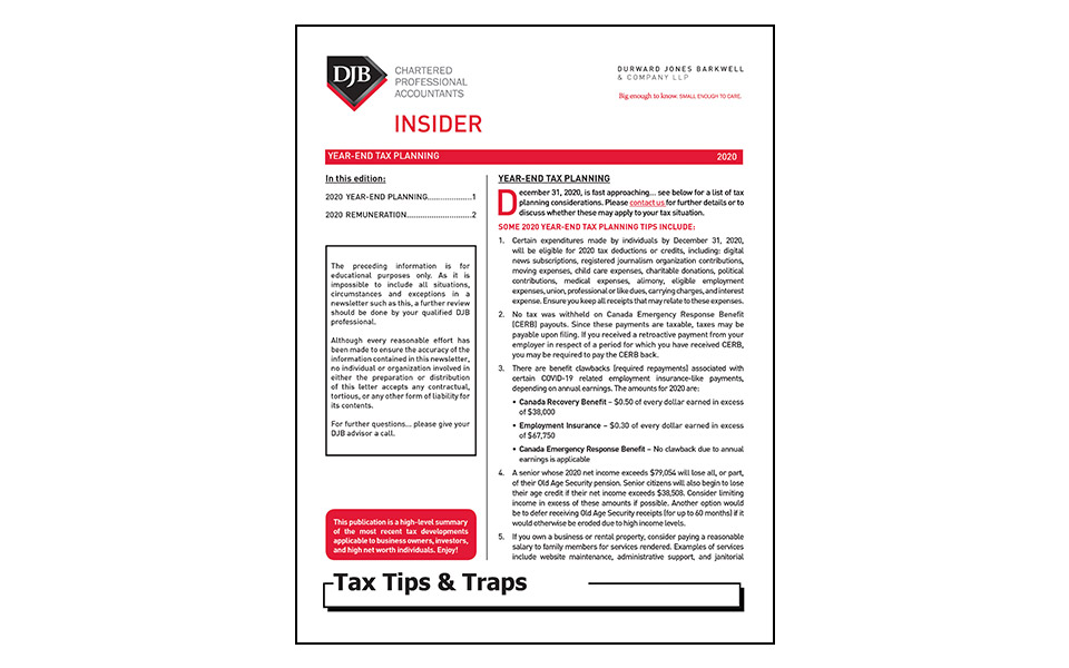 cover of tax newsletter