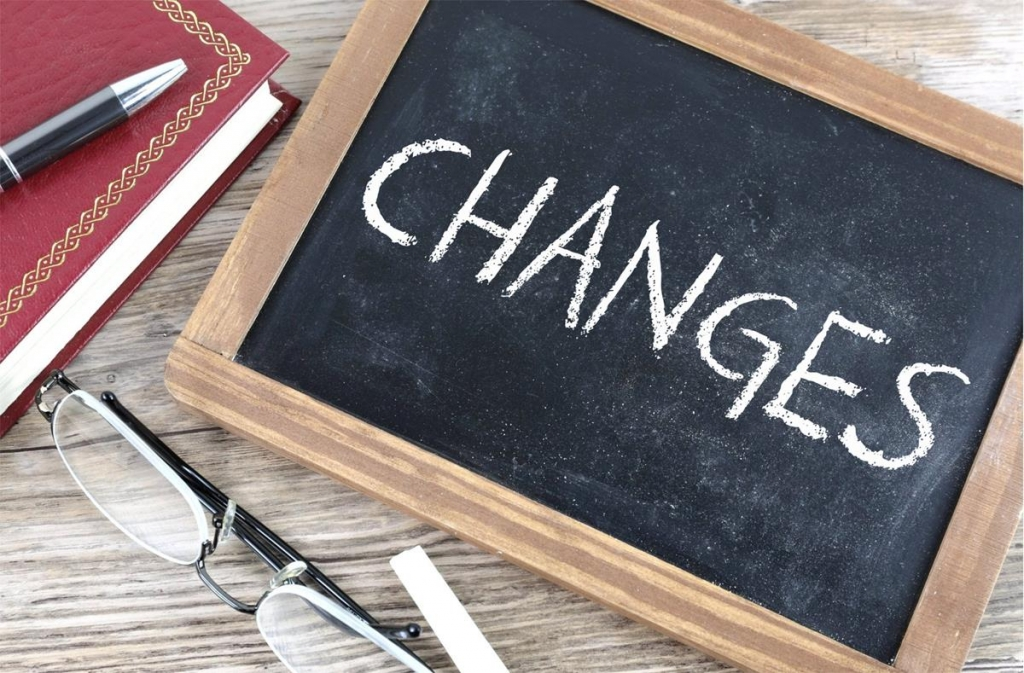 The word 'changes' written on a mini chalkboard with a red book, pen and set of reading glasses on the table