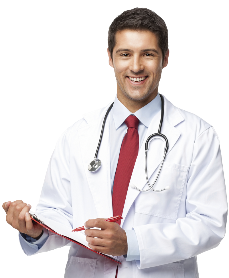 male doctor holding a chart and pen. White background.