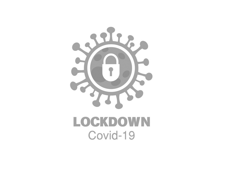 Coronavirus icon graphic with pad lock in centre and lockdown written below