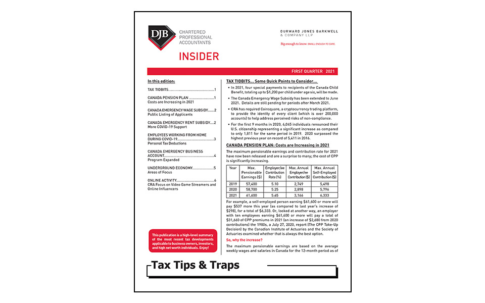 Cover of Tax Tips & Traps Q1 newsletter