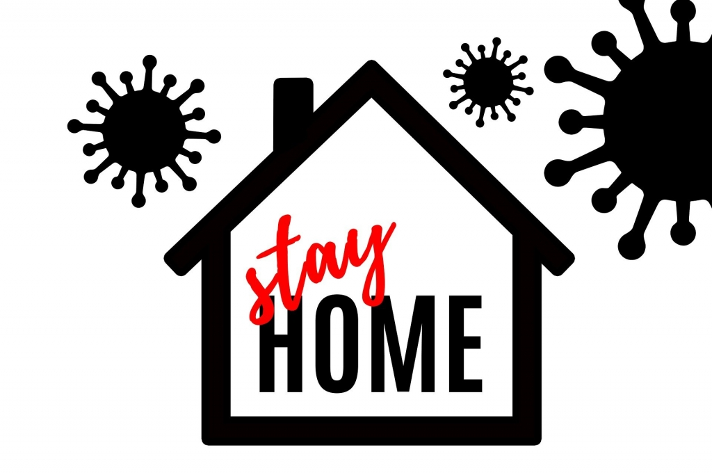 illustration of a house with the words stay home inside and virus particles floating around the outside