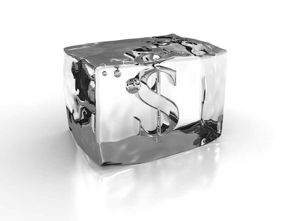 ice block with dollar sign inside