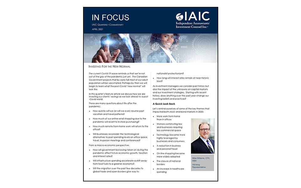 Cover of IAIC Newsletter April 2021 edition