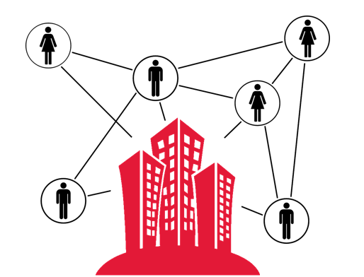 Icon office tower with people connections all around it