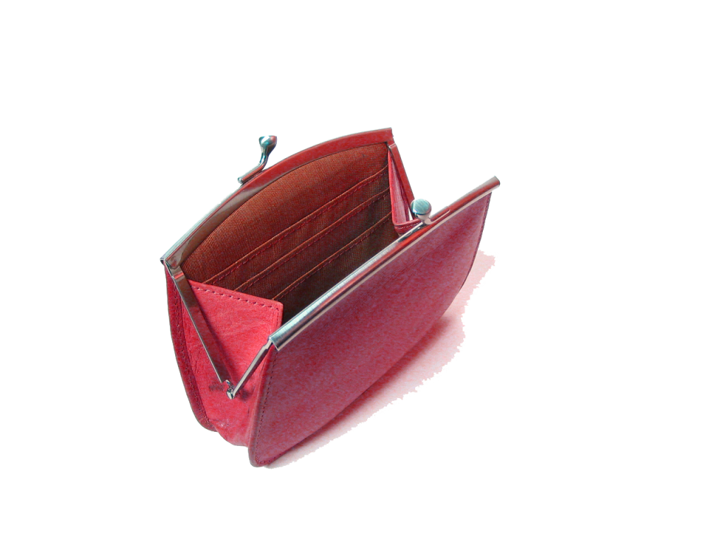 empty red wallet sitting on white background open