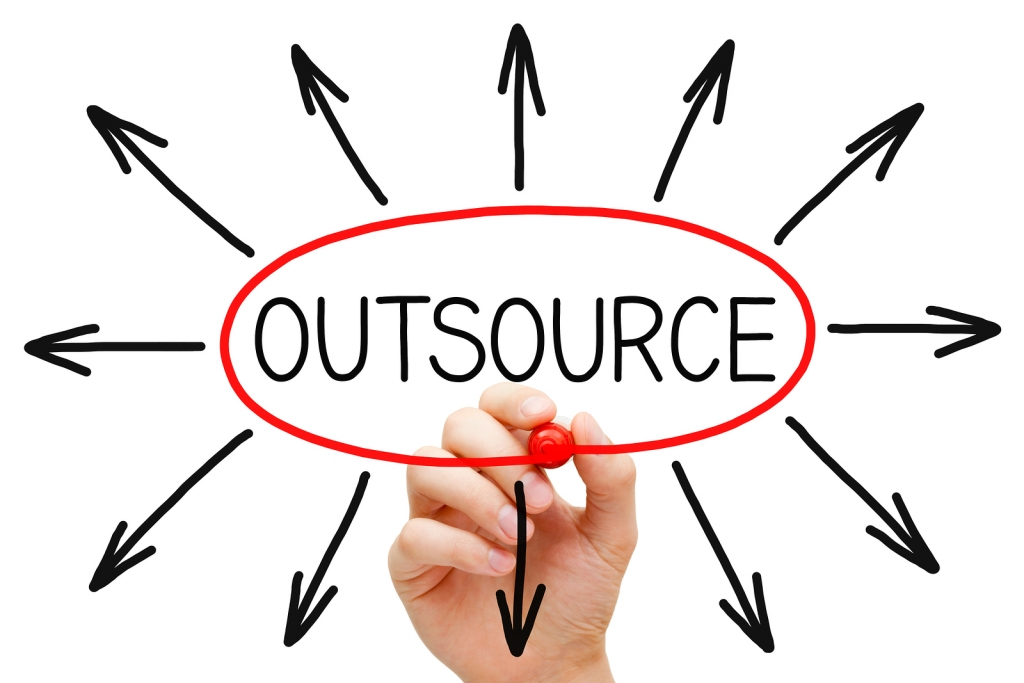 the word outsource circled in red with arrows pointing outward