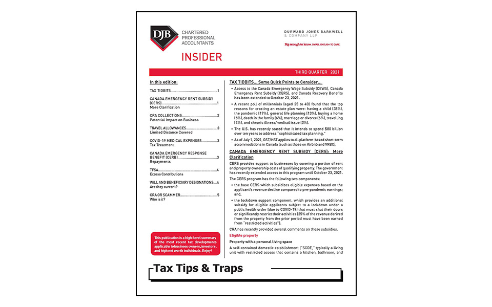 cover of Tax Tips newsletter