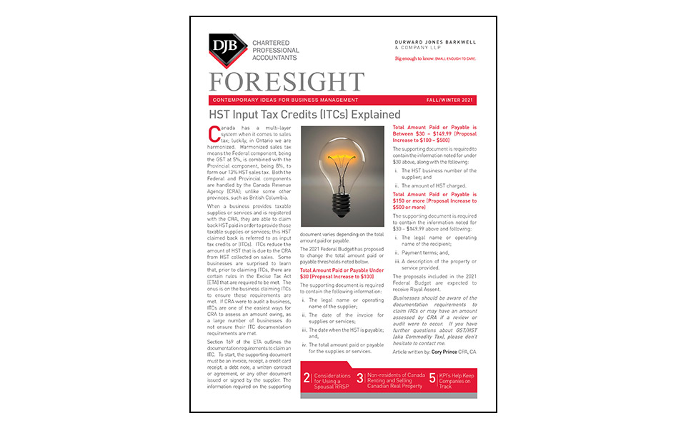 Cover of the Foresight newsletter Fall/Winter 2021